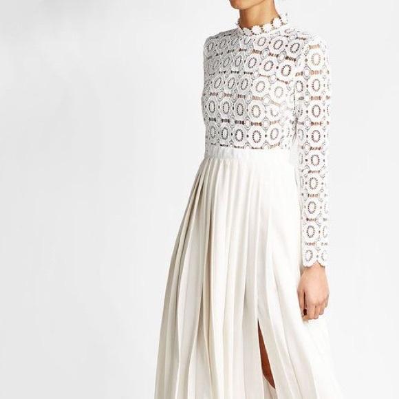 4bcc441177f2 Self-Portrait Dresses   Selfportrait Pleated Crochet Maxi White ...